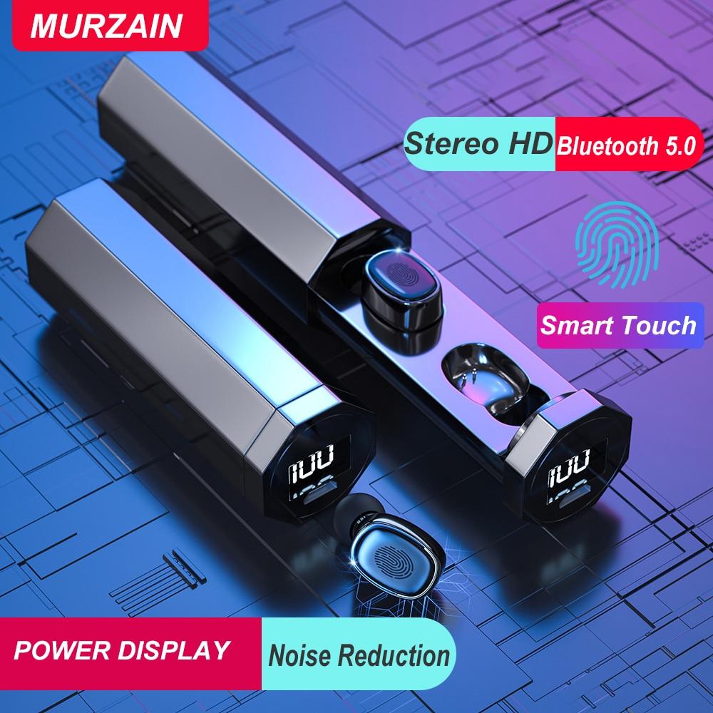 Murzain TWS Wireles Earphones Bluetooth 5.0 Hifi Sound Earbuds Smart Touch Waterproof Sports Running Gaming Headset