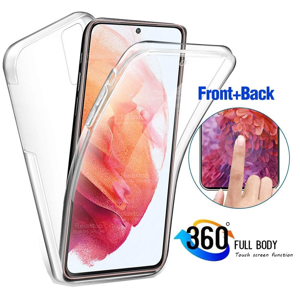 Для Samsung Galaxy S21 360 Полный корпус чехол для Samsung Galaxy S21 плюс S21 ультра 5G Двусторонняя мягкий силиконовый прозрачный чехол из термополиуретана с ...