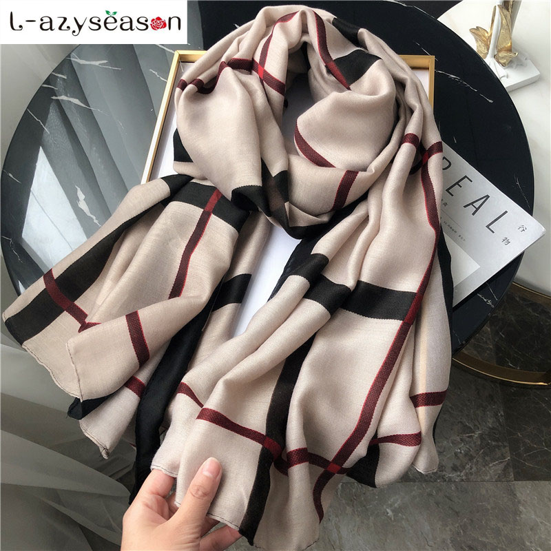 New winter   scarf   women luxury brand   Scarves     wraps   pashmina cotton warm neckerchief shawl plaid print foulard femme hijab