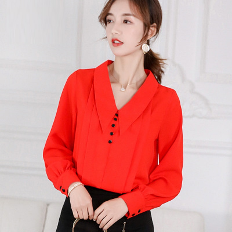 2019 Spring Autumn   Shirt   Women Chiffon Office Professional   Blouses   Fashion Casual Lapel Long-sleeved   Shirts   Ladies Tops Apricot
