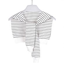 Children Boys Girls Navy Style Knitted False Collar Shawl Black White Stripes Self-Tie Fake Sweater Cape Shoulder with Sleeves navy random floral print self tie at sleeves mini dress