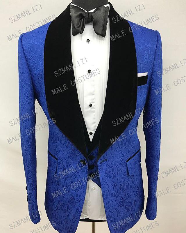 2020 Costume Homme Groomsmen 3 Piece Men Suits Classic Royal Blue Jacquard Wedding Suit Tuxedo Groom Wedding Party Suits For Men
