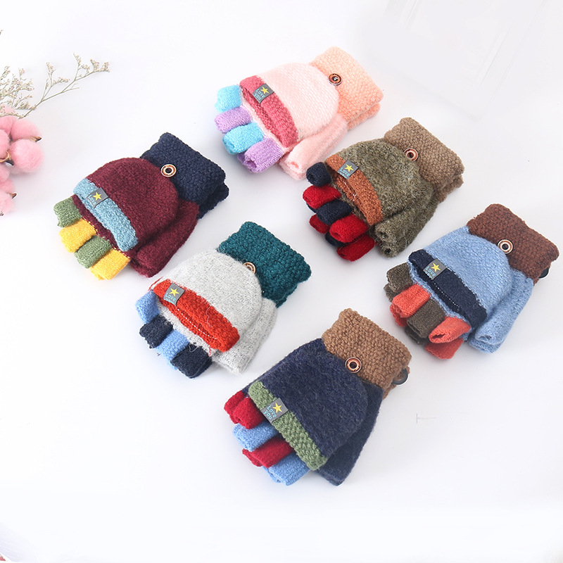 5-12 Year Old Children's Winter Acrylic Thick Knit Warm Half Finger Flip Mittens Cartoon Dog Touch Screen Writing Gloves C94