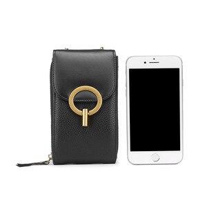Image 4 - נשים אמיתי עור טלפון פאוץ שקיות עבור iPhone X XS 6 7 8 קטן כתף תיק עבור סמסונג S9 Crossbody תיקי נשים טלפון תיק