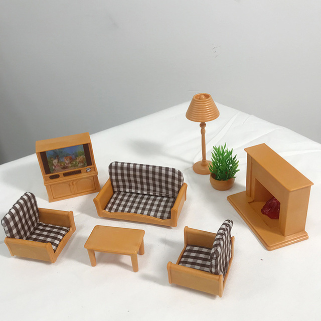 1:12 Forest Home Villa Furniture Set Toy Forest Animal Family Mini Bedroom Set Mini Living Room Furniture Toy Gift 2