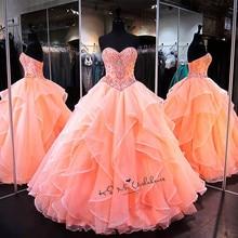 Vestidos דה 15 Anos אורגנזה נפוחה כדור שמלת Quinceanera שמלות 2020 גבישי נשף שמלת קורל זול Quinceanera שמלה