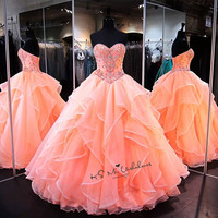 Vestidos de 15 Anos Organza Puffy Ball Gown Quinceanera Dresses 2020 Crystals Debutante Gown Coral Cheap Quinceanera Dress