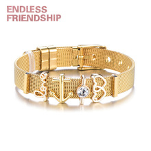 цены Endless Friendship Hot Fashion Couple Love Bracelet Mesh Bracelet Stainless Steel Anchor Bracelet for Woman Valentine Day Gift