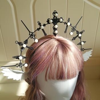 Nowy Lolita perła nakrycia głowy korona gotyckie skrzydła bogini maryi panny włosy Cosplay Punk rekwizyty barokowy Tiara Notre Dame Halo stroik tanie i dobre opinie CN (pochodzenie) Kostiumy Unisex Dla dorosłych Akrylowe