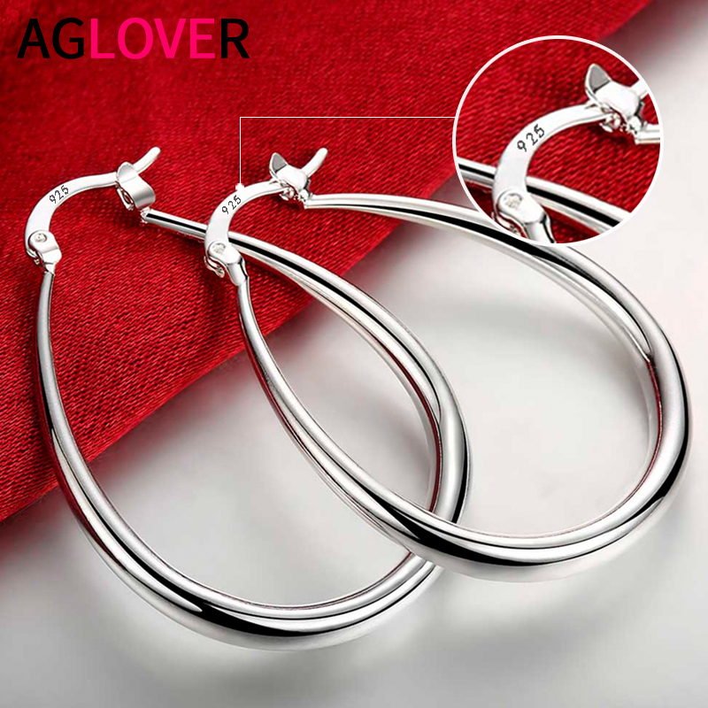AGLOVER 41MM 925 Sterling Silver Smooth Circle Big Hoop Earrings For Women Lady Fashion Charm High Quality Wedding Jewelry Gift