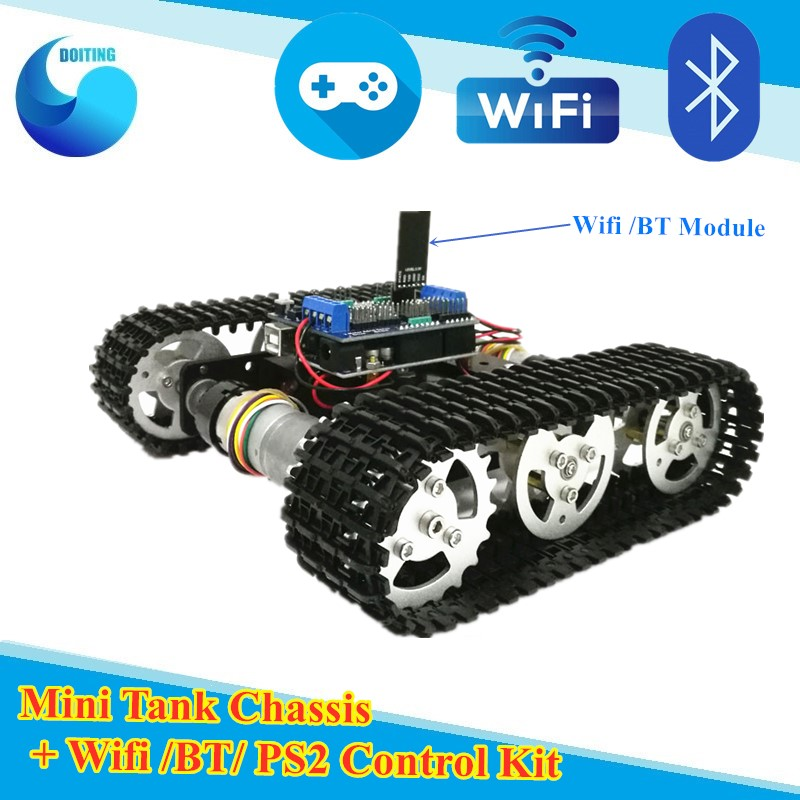 WiFi Control Smart Tank Car Chassis Crawler Tracked Robot Competition for Arduino UNO Motor Drive DIY RC Tank Chassi for DIY