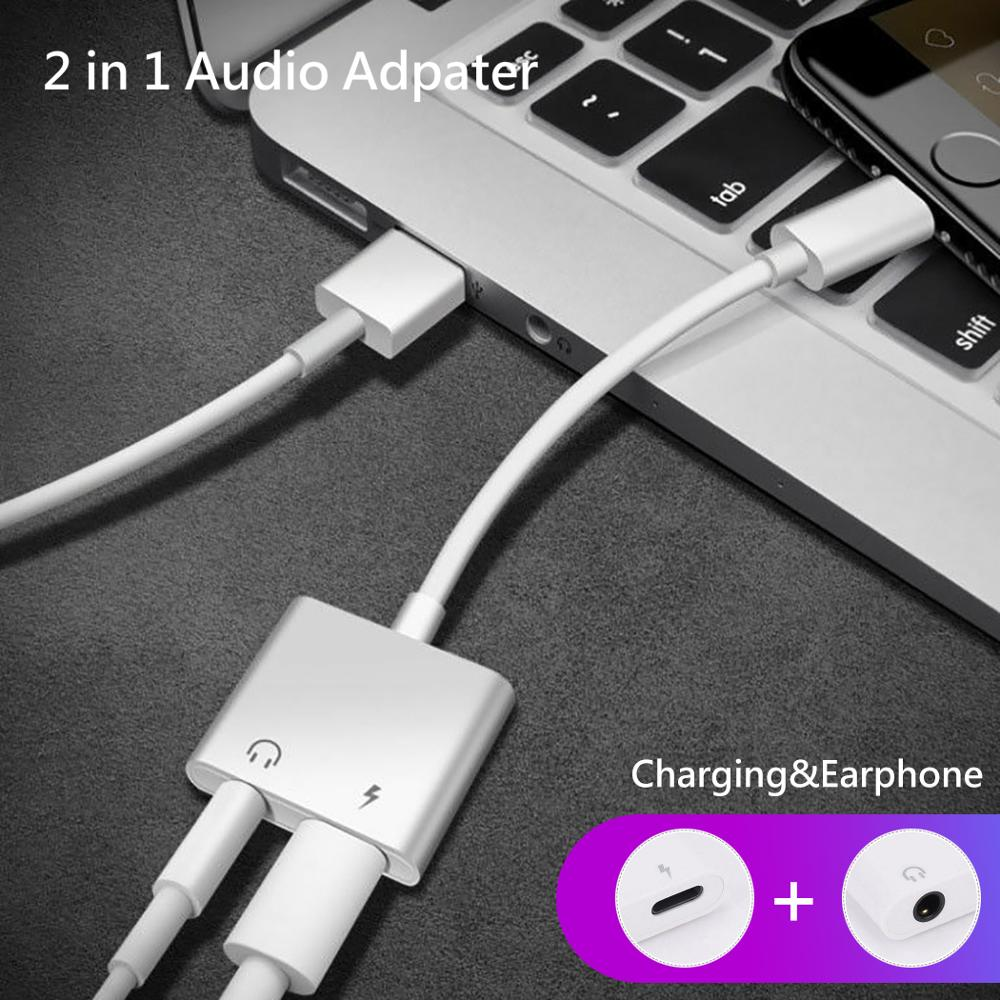 For Lightning to 3.5mm 2 in 1 Earphone Audio Adapter For iPhone 7 8 plus X XS Charger Cable Mobile Phone Aux Dual Jack Splitter