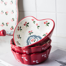 Japanese Hand Painted red cherry ceramic Bowl kitchen fruit Salad dessert  Bowl breakfast bowl rice soup bowl dish tableware classical cherry blossom ceramic bowl set with bamboo chopstick fruit salad rice soup ramen bowl water tea cup kitchen tableware