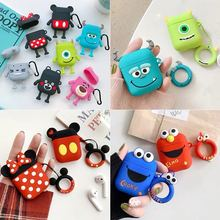 For AirPods Case Cute 3D Cartoon Lovely Earphone Case  for Apple AirPods 1 2 Silicone Charging Headphones Cases 3d cute big hero wireless bluetooth earphone for apple airpods 1 2 silicone charging headphones cases baymax airpods pro covers