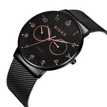 BIDEN Mens Watch Newest Arrival Creative Fashion Design Man Quartz Watches Ultra Thin Black Mesh Band Slim Stainless Steel Hardlex Mirror Orologio Uomo Birthday Present Dropship