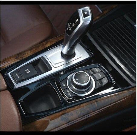 คอนโซลกลางสีดำเกียร์SHIFT PANELตกแต่งฝาครอบTrimสำหรับBMW X5 E70 X6 E71 2008 2014 LHDสแตนเลสรถเหล็กจัดแต่งทรงผม