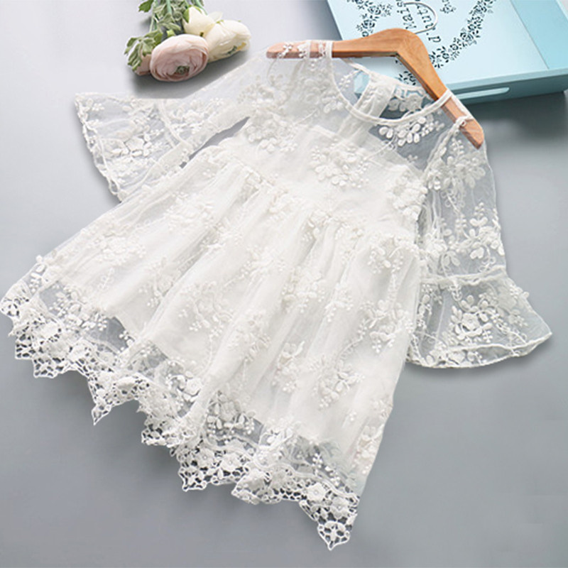 He0e55956f2fe4806b7be6078b59996e1G Girls Dress 2019 New Summer Brand Girls Clothes Lace And Ball Design Baby Girls Dress Party Dress For 3-8 Years Infant Dresses