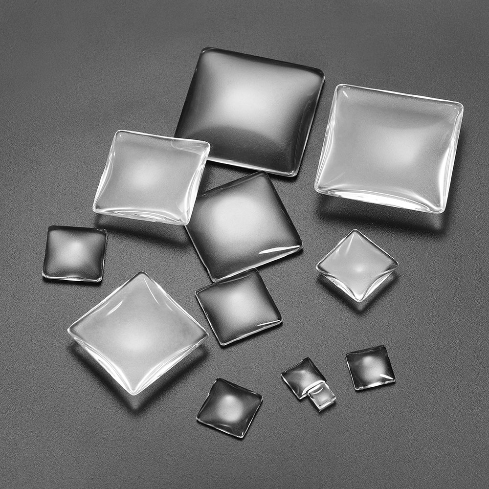 5-50pcs/lot 6 - 40mm Clear Square Cabochons Transparent Flat Back Glass Cabochon Cameo Settings For DIY Jewelry Making Supplies