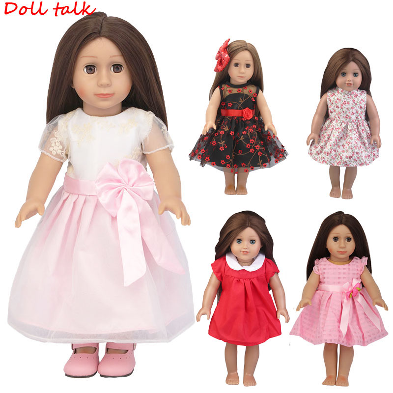 5 Colors Princess Doll Dress Doll Clothes For 43cm Baby New Born Doll Pink Dress For 18 Inch Girl Doll Dress Free Shipping