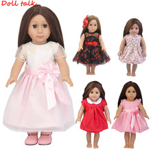 5 Colors Princess Doll Dress ClothesFor 43cm Baby New Born Pink For 18 Inch Girl Free Shipping