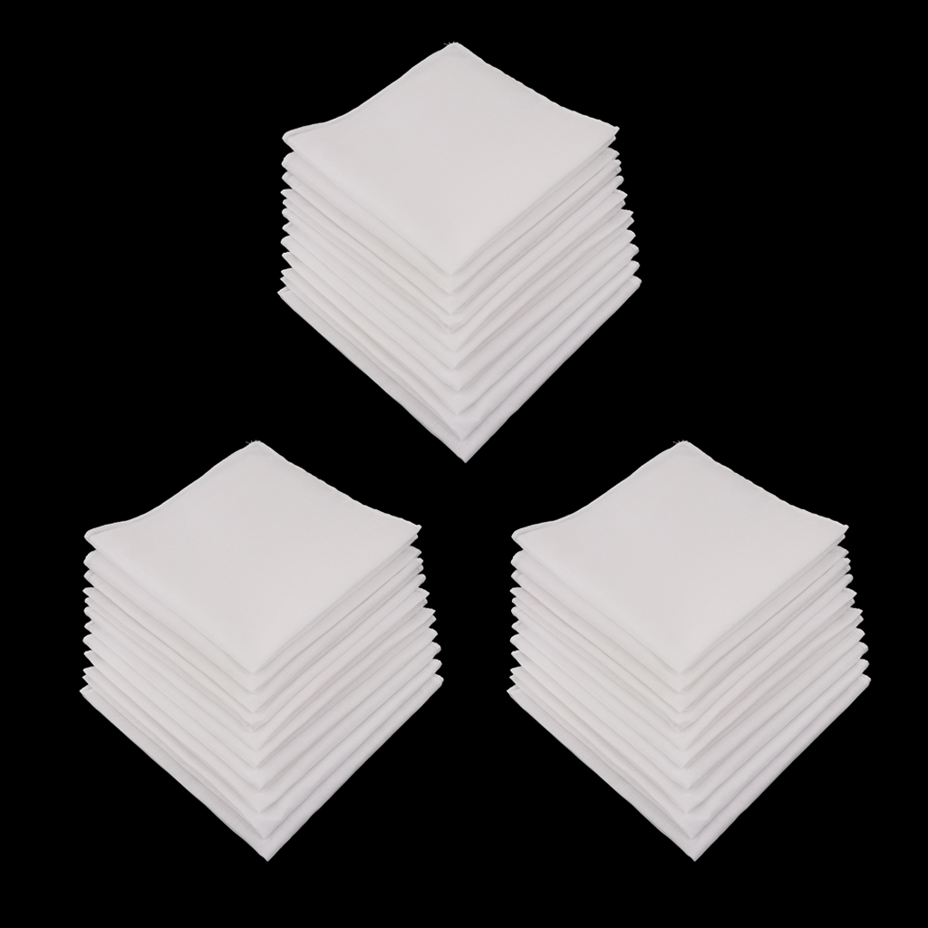 30pcs Woman Handkerchiefs Pure Cotton Fabric For Daily Use Pockey Square  Hanky  28 X 28 Cm