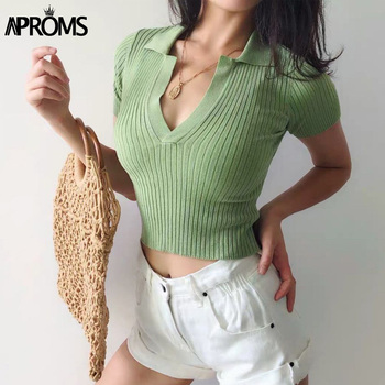 Aproms Fashion Basic Cropped T Shirt Women Casual Turndown Collar Knitted T-shirt Vintage Green Crop Top Female Tshirt 2020 turndown collar tartan print shirt