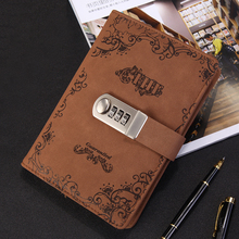 цена NEW Vintage notebook personal diary with lock code thick leather notepad 100 sheets paper stationery Products supplies gift онлайн в 2017 году