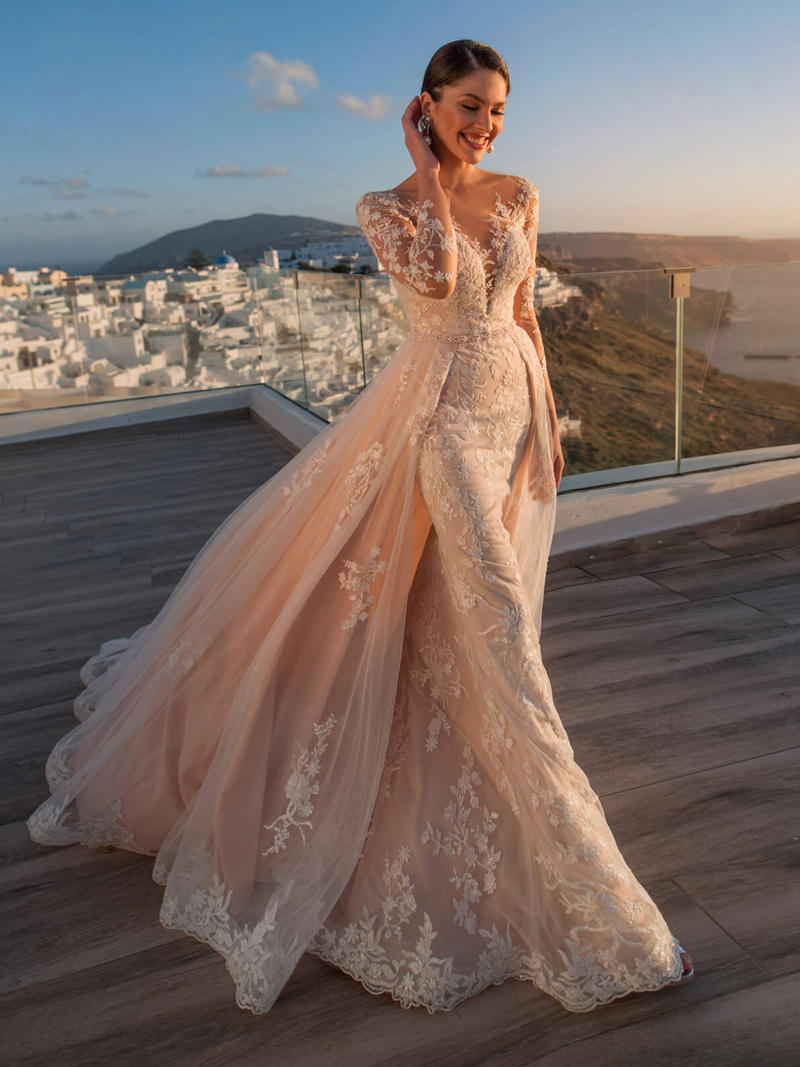 Bride-Gown Beaded-Sashes Detachable Train Wedding-Dress Mermaid Long-Sleeve Gorgeous