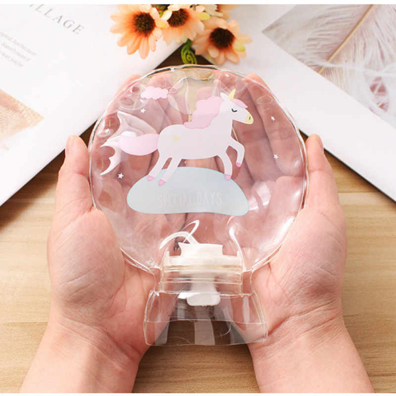 Round Mini Hand Warmer Transparent PVC Hot Water Bottle Small Fill Water Warm Handbag Water Injection Warm Cold and Hot Bags