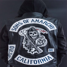 Sons of anarchy bordado couro rock punk colete cosplay traje cor preta motocicleta sem mangas jaqueta