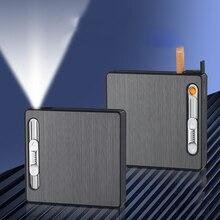 20 шт. заряжаемые USB зажигалки металлический алюминиевый сплав чехол для сигарет/коробка для сигарет гаджеты для мужчин
