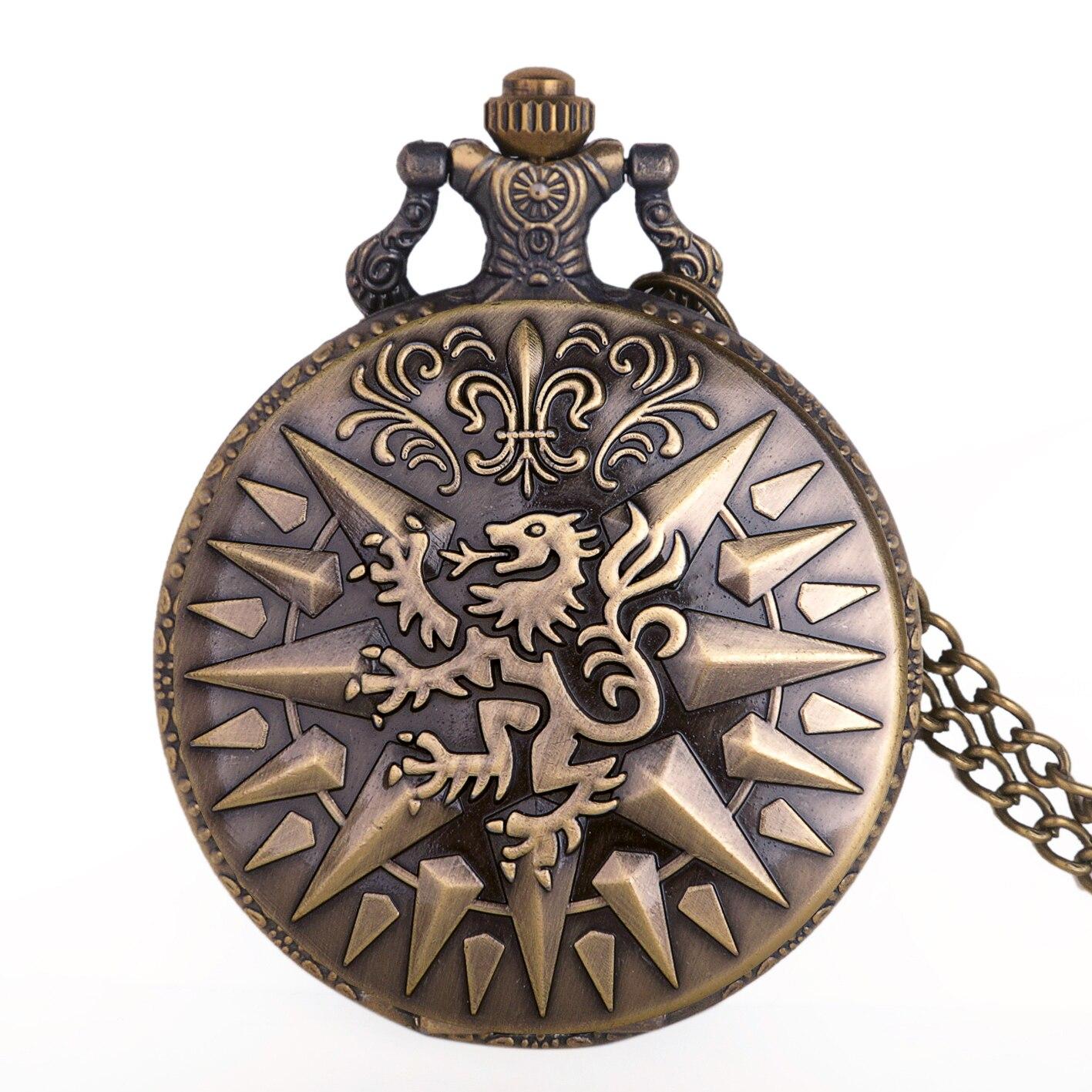 Lion Roman Numerals Color Dial Quartz Pocket Watch Analog Pendant Necklace Mens Womens Watches Chain TD2064