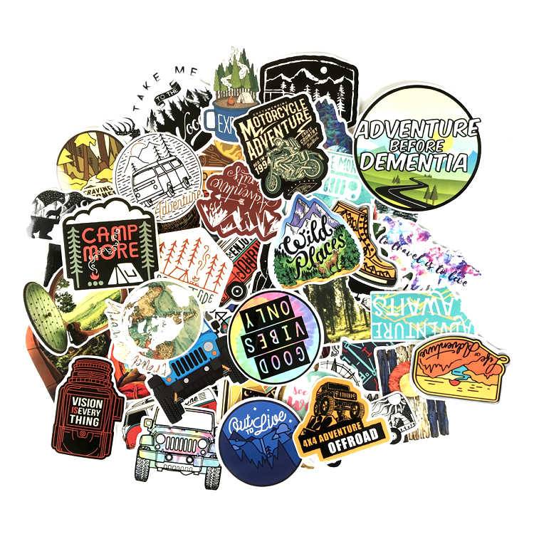 66PCS Camping Landschap Stickers Outdoor Adventure Klimmen Reizen PVC Sticker Laptop Fietshelm Auto Stickers