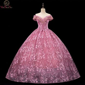 Pink Prom Dresses Lace Ball Gown 2020 Off Shoulder Beading Pearls Long Graduacion Formal Women Evening Gown Walk Beside You walk beside you bling evening dresses long elegant off shoulder robe longue prom gown sexy formal dress vestido de fiesta mujer
