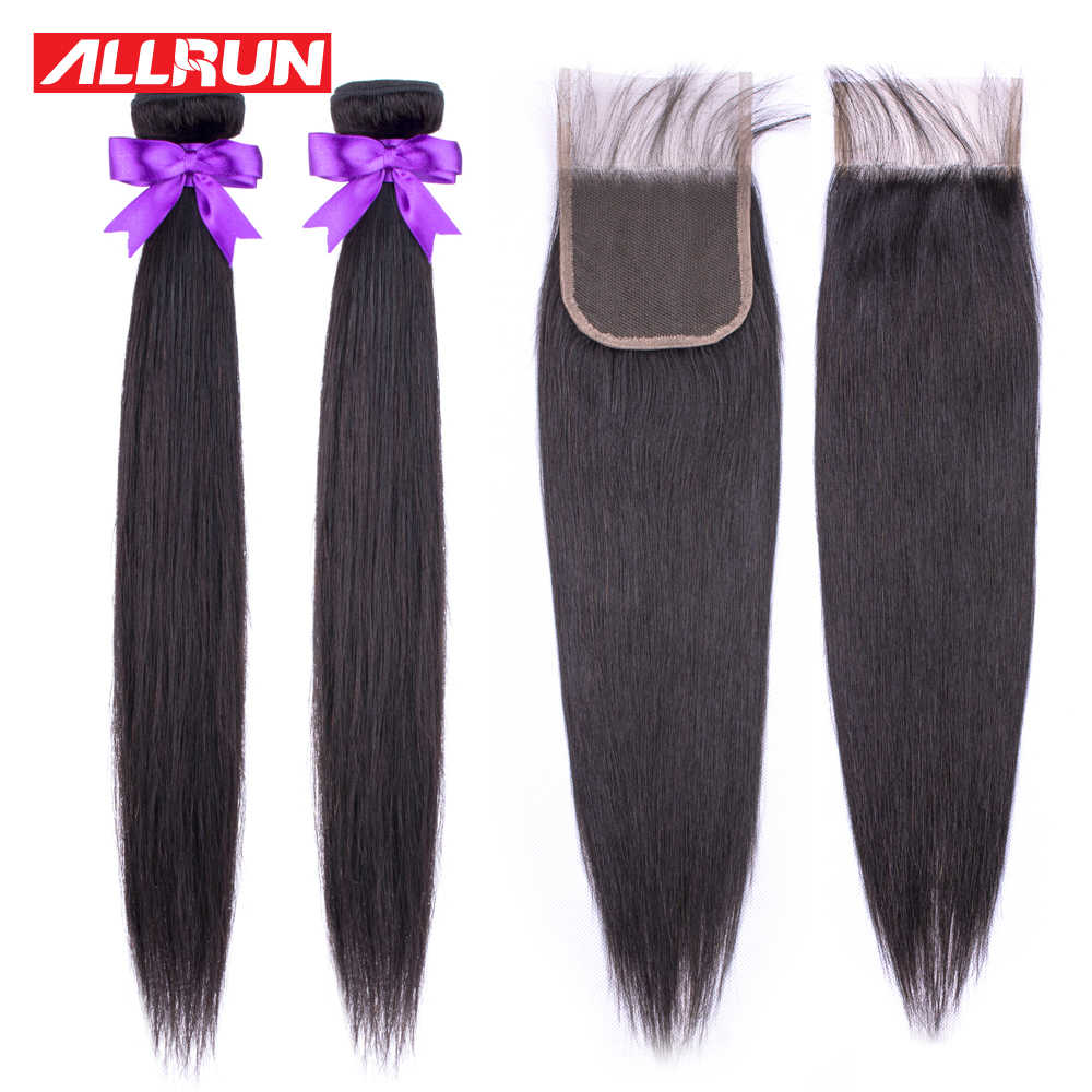 Allrun Straight Bundles With Closure Brazilian Hair Weave Bundles With Lace Closure Human Hair 2 Bundles Non Remy Hair Extension