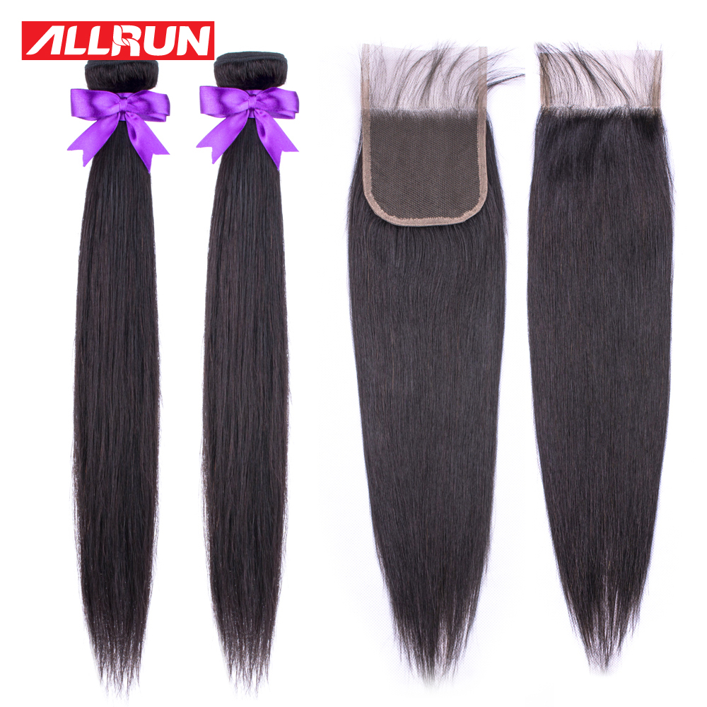 Allrun Straight Bundles With Closure Brazilian Hair Weave Bundles With Lace Closure Human Hair 2 Bundles Non Remy Short Bundles