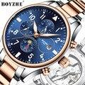BOYZHE Мужские автоматические часы водонепроницаемые светящиеся Модные Роскошные военные часы из нержавеющей стали ремешок Relogio Masculino