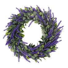 Guirlande de Simulation de lavande, anneau de champ rond, pendentif, décoration de porte, Rotin, décoration de printemps, Wielkanoc, 2021