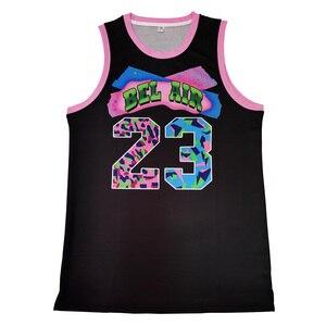 Świeży książę Bel Air Academy 23 kolorowy nadruk czarna koszulka do koszykówki