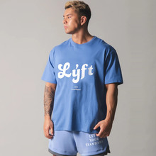 Mens Summer Bodybuilding cotton Short sleeve t shirt Gyms Fitness shirts male casual workout 2021 New printing tee tops clothing