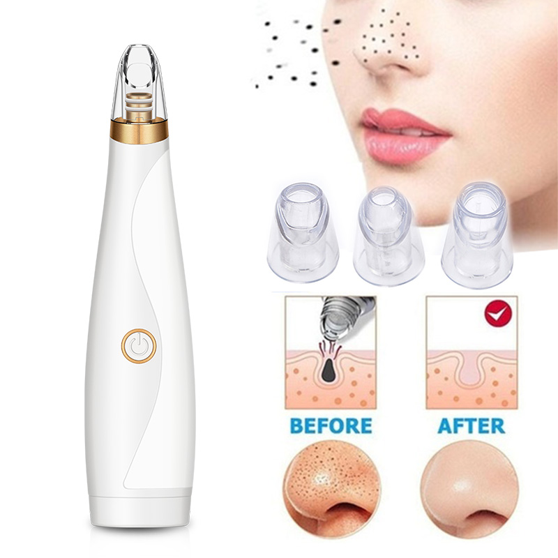 Electric Blackhead Remover Face Pore Clean Acne Removal Strong Suction Exfoliate Facial Skin Care Tools With 3 Treatment Heads