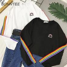 T-shirts Regenbogen Gestreiften Kawaii Langarm Weichen Lose Stickerei Koreanische Stil Frauen T Schöne Mode Frauen T-shirt Alle-spiel