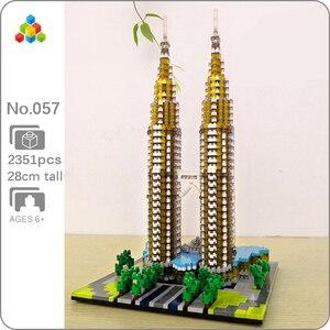 Image 1 - Construcción de la torre Petronas para niños, 057 YZ, arquitectura de fama mundial, modelo 3D, minibloques de diamante, juguete de construcción para niños, sin caja