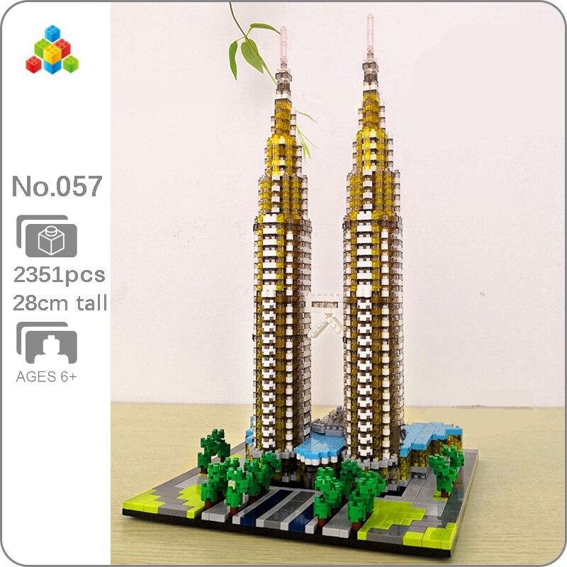 YZ 057 World Famous Architecture Kuala Lampur Petronas Tower 3D Model DIY Mini Diamond Blocks Building Toy for Children no BoxBlocks   -