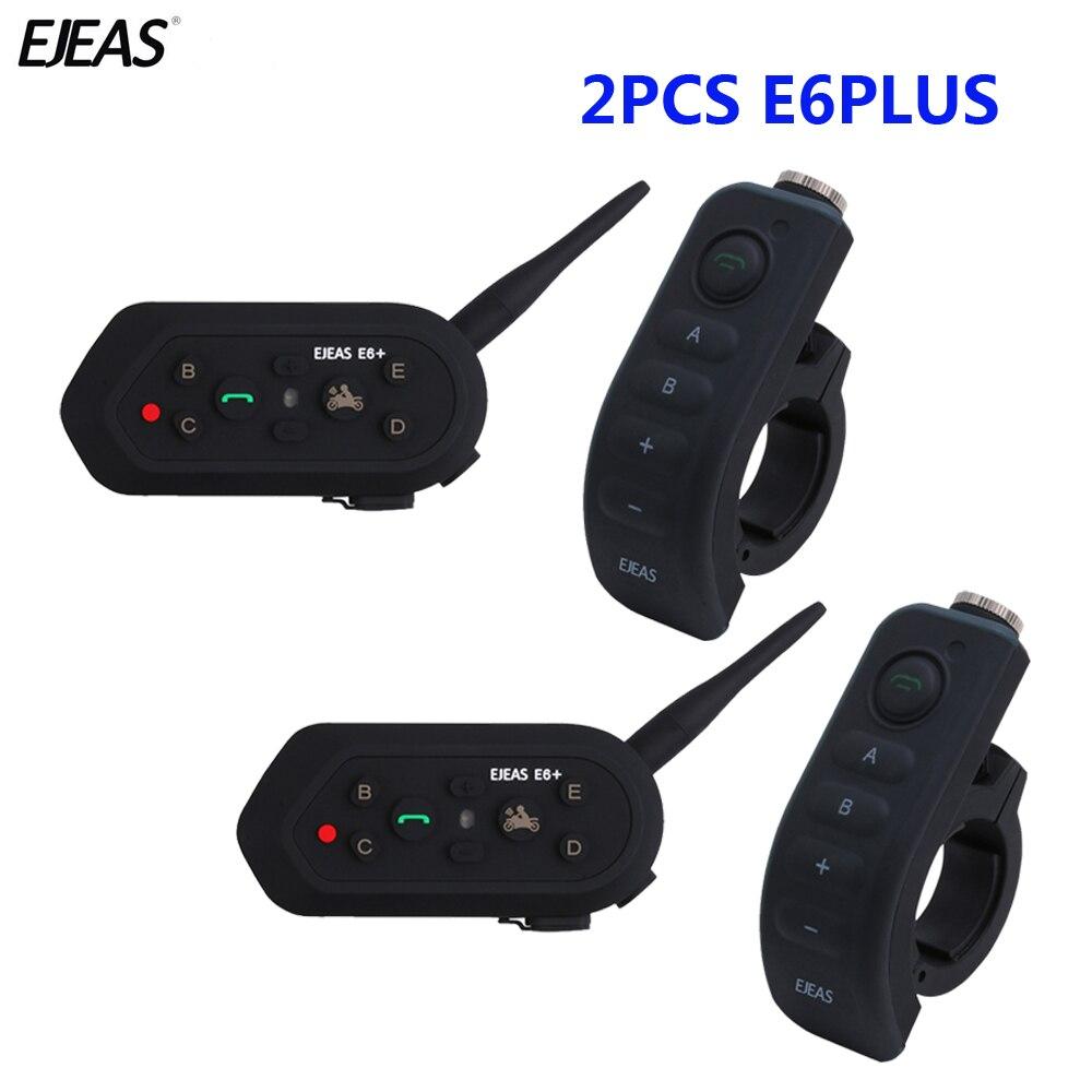 E6 Plus 2pcs 1200M BT Motos Handle Bar 6 Pilotos Capacete Comunicador Interfone VOX fone de Ouvido Bluetooth Interfone