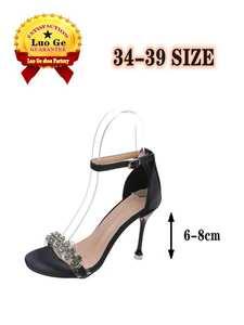 Women's Shoes Sandals Stiletto Rhinestone Anti-Slip High-Heels Ladies Fashion Summer
