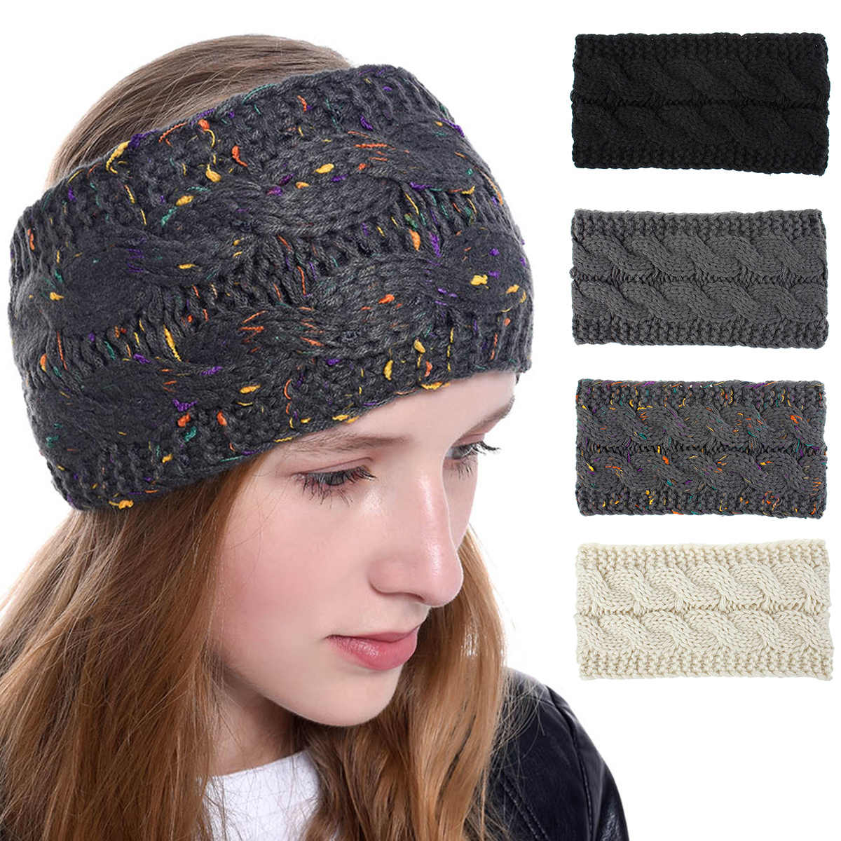 Multi Colorful Knitted Crochet Twist Women Headband Winter Ear Warmer Elastic Hair Band for Women's Wide Hair Accessories