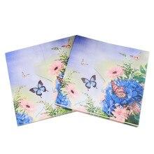 20 шт фиолетовый цветок бумажная салфетка бабочка праздничные и вечерние принадлежности украшения ткани