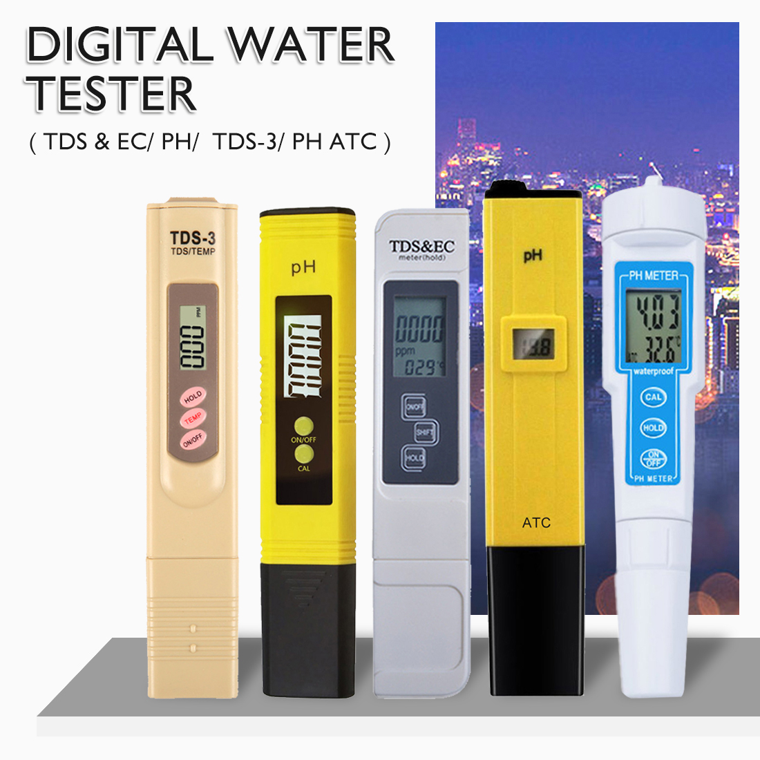 High Accuracy 0.01ph Digital PH Meter Tester TDS Meter Pen 0-14PH /0-9990 PPM For Drinking/ Food/ Lab PH Water Purity Monitor