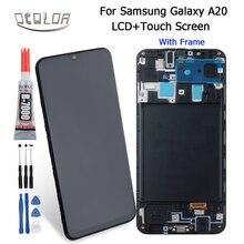"Ocolor para Samsung Galaxy A20 LCD A205 A205F A205FN pantalla táctil y pantalla táctil con marco 6,4 ""piezas de reparación de montaje + herramientas + pegamento"